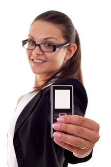 Free Woman Presenting A Mobile Phone Royalty Free Stock Photos - 16193088
