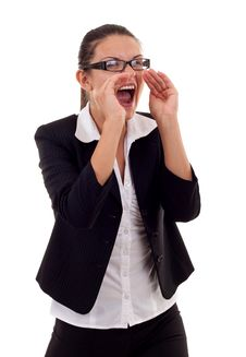 Free Business Woman Shouting Royalty Free Stock Photography - 16193127