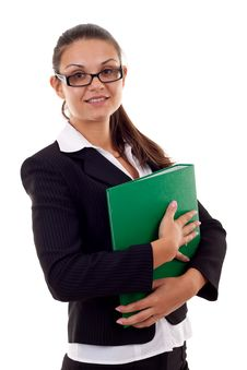 Free Business Woman With Folder Royalty Free Stock Photography - 16193167