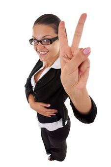 Free Woman Making Her Victory Sign Royalty Free Stock Photo - 16193265