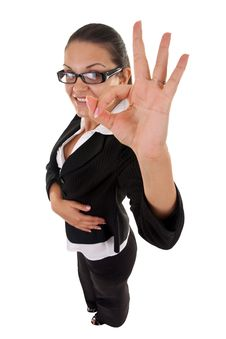 Woman Making Her Ok Sign Stock Photo