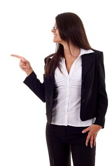 Woman Pointing To Her Side Stock Images