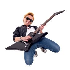 Woman Guitarist Playing On Her Knees Royalty Free Stock Photo