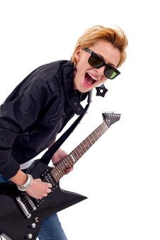 Free Girl With Sunglasses Playing Guitar Royalty Free Stock Photos - 16193438