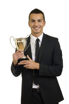Free Man Holding A Trophy Royalty Free Stock Image - 16193526