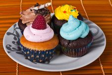 Four Diferent Cupcakes Royalty Free Stock Photo