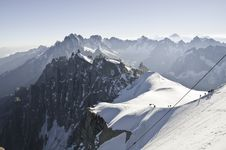 Views From L  Aiguille Du Midi Royalty Free Stock Photography