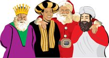 Free Santa Claus With Three Wise Men Stock Photo - 16193990