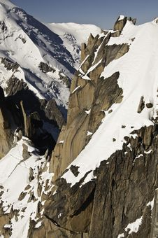 Free Views From L  Aiguille Du Midi Royalty Free Stock Photography - 16194397