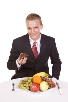 Enjoying Brownie Not Fruit Stock Photography