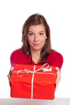 Free Woman Giving Red Gift Box Stock Photography - 16196082