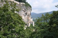 Rock Monastery On Lake Garda Royalty Free Stock Photo