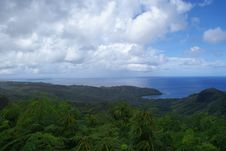 Guam Jungle With Bay Stock Image