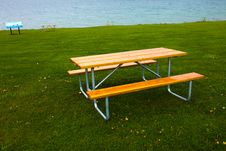Bench And Lawn Royalty Free Stock Images
