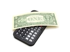 Free Calculator And One Dollar Stock Image - 16199841