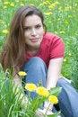Free Brunette On A Dandelion Field Stock Photos - 1629743