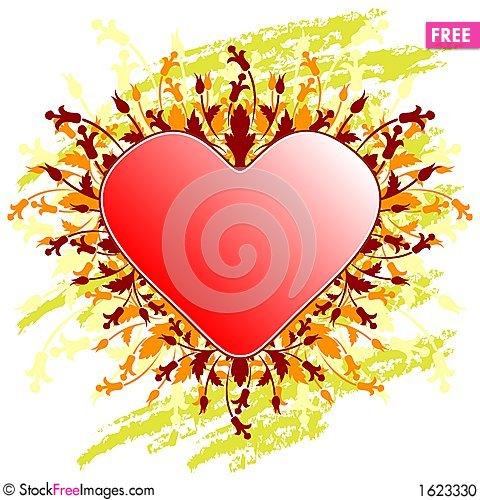 Valentine S Day Greeting Card With Flowers Heart On Grunge Backg