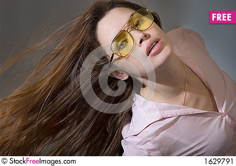 Young woman with waving hair Stock Photo
