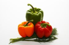 Free Three Multi-coloured Sweet Pepper Stock Photos - 1621373