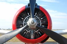 Propeller Front View Of Vintage Airplane Stock Photography