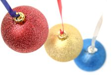 Celebratory Ornaments In The Form Of Glass Spheres Royalty Free Stock Photo