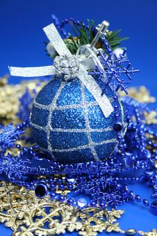 Christmas Sphere Of Dark Blue Color With A Pattern 3 Stock Photos