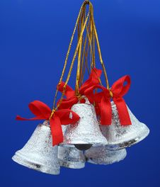 Christmas Celebratory Handbells Of Silvery Color 2 Royalty Free Stock Image