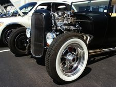 Black Hotrod At A Car Show Stock Image