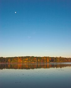 Free Pond, Blue Sky And Moon Stock Photo - 1626950