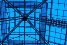 A Dome Of Office Building. A Kind From Within. Roof Frame Struct Stock Image