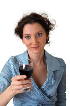 Free Girl With Cup Of Red Wine Royalty Free Stock Photography - 1629087
