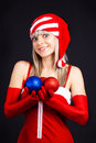 Free Santa Girl Holding A Christmas Ball, Christmas Toy Stock Photography - 16206902