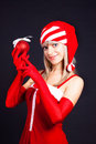 Free Santa Girl Holding A Christmas Ball, Christmas Toy Stock Photography - 16206942