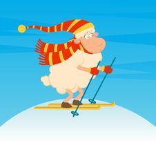 Cartoon Funny Skier Sheep. Royalty Free Stock Photography