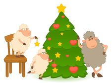 Free Cartoon Funny Sheep Dresses Up A Fir-tree. Stock Photography - 16201302