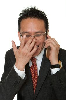 Free Manager Laughs While Phoning Stock Image - 16204351