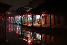 Nightscape In China Old Town Royalty Free Stock Images