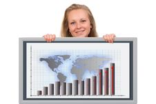 Free Woman Holding A Financial Graph Board Stock Photography - 16205262