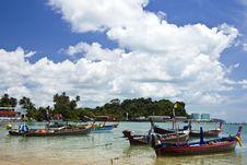 The Fishing Boat On Thai Sea Stock Photos
