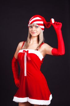 Free Santa Girl Holding The Box With Gifts. Stock Photo - 16206970