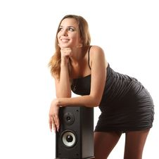 A Girl And A Speaker Stock Photos
