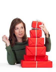 Free Women With Red Gift Boxes Royalty Free Stock Images - 16207559
