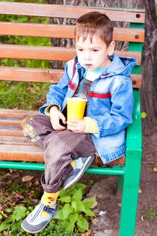 Free A Little Boy  Drinking With A Glass Tube Stock Photos - 16208353