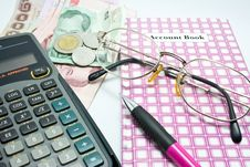 Free Account Book With Calculator Royalty Free Stock Photos - 16208428