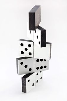 Free Dominoes Construction On White Royalty Free Stock Photography - 16208437