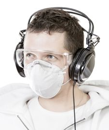 Free Portrait Of Man In Mask With Headphones Stock Image - 16208891
