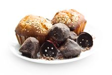 Free Tasty Muffin, Chocolate Sweet Cone And Truffle Royalty Free Stock Photo - 16208945