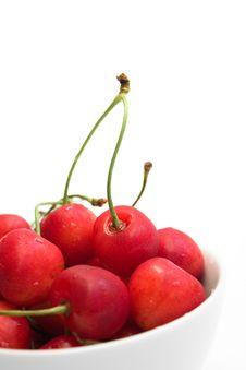 Free Fresh Cherries In White Bowl Over White Royalty Free Stock Photos - 16209108