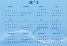 Free 2011 Calendar. Stock Photography - 16209242