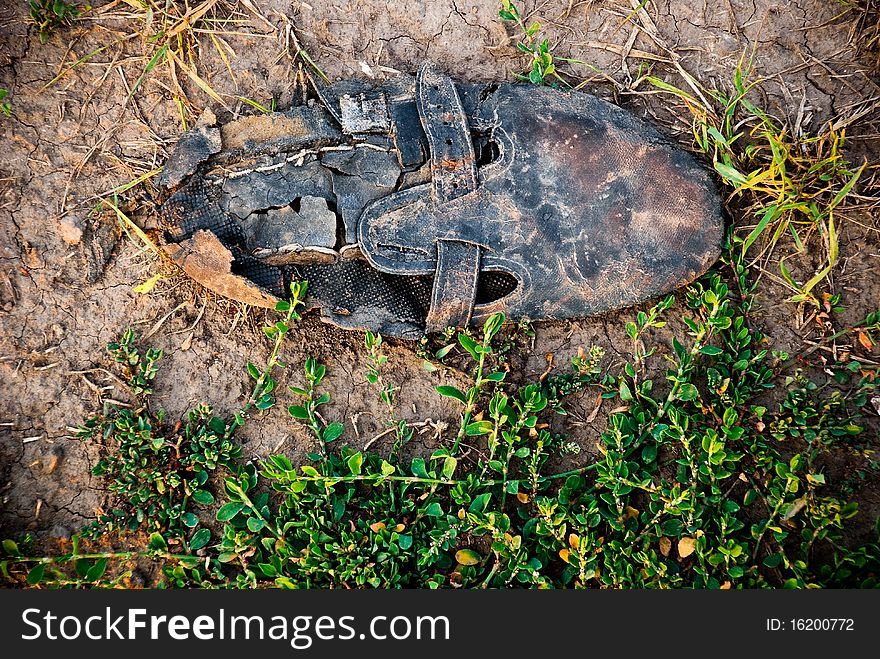 Old dirty shoe